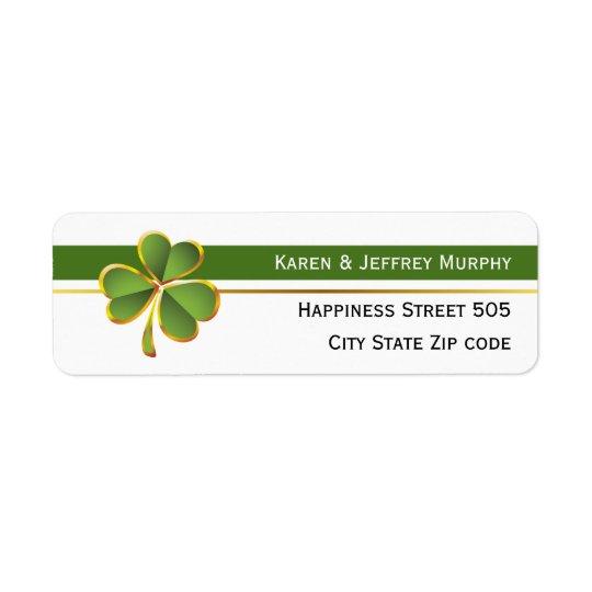 Listras verdes e brancas e casamento irlandês do etiqueta endereço de retorno