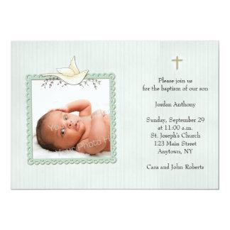 Listras verdes, pomba branca, cartão com fotos convite 12.7 x 17.78cm