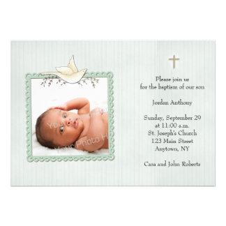 Listras verdes pomba branca cartão com fotos rel convites