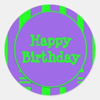 Listras verdes roxas do feliz aniversario adesivos em formato redondos