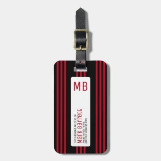 listras vermelhas à moda monogrammed (nome & etiqueta de mala