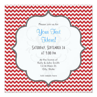 Listras vermelhas e brancas de escarlate de convite quadrado 13.35 x 13.35cm