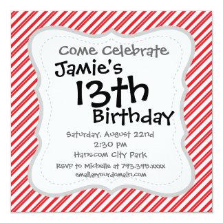 Listras vermelhas e brancas do bastão de doces do convite quadrado 13.35 x 13.35cm