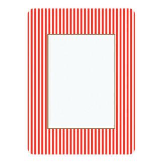Listras vermelhas e brancas do circo da cabana convite 13.97 x 19.05cm