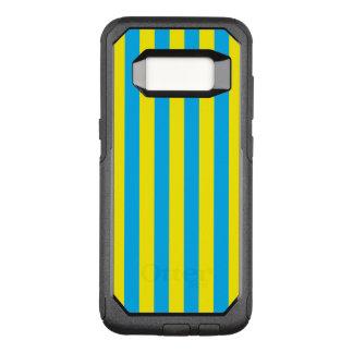 Listras verticais azuis e amarelas capa OtterBox commuter para samsung galaxy s8