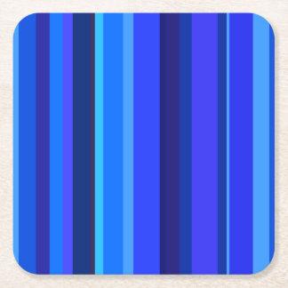Listras verticais azuis porta-copo de papel quadrado