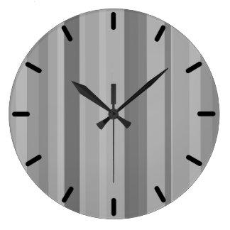 Listras verticais cinzentas relógio para parede