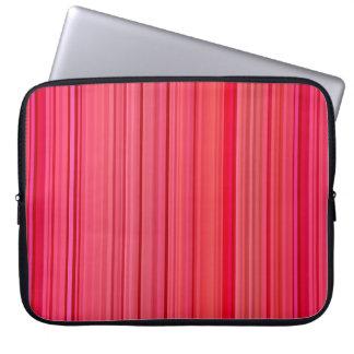 Listras verticais listradas vermelhas bolsa e capa para computadore