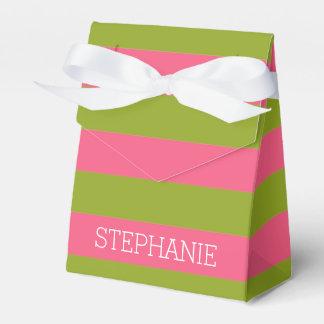 Listras vibrantes cor-de-rosa & do limão do rugby caixinhas de lembrancinhas para casamentos