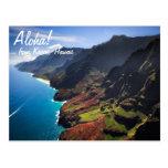 Litoral do Na Pali na ilha de Kauai, Havaí Cartao Postal