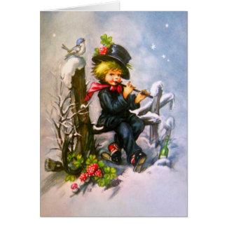 Little Boy com flauta Cartão
