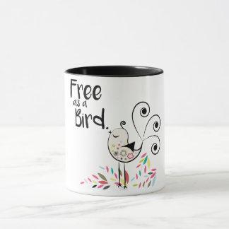 Livre bonito como uma caneca de café do pássaro