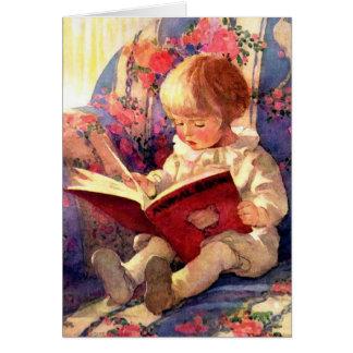 Livro animal da leitura do bebê, vintage cartão