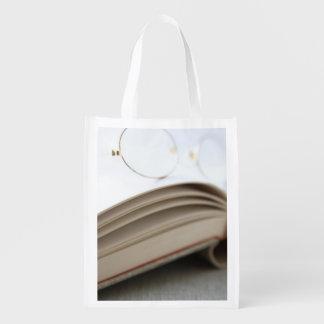Livro com vidros sacola ecológica para supermercado