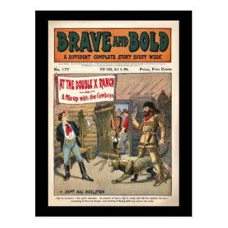Livro cómico ocidental de série bravo e corajoso 1 cartões postais