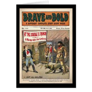 Livro cómico ocidental de série bravo e corajoso cartão comemorativo