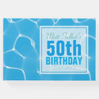 Livro de hóspedes azul do aniversário de Waterpool