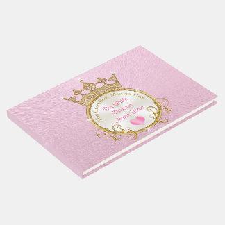Livro de hóspedes cor-de-rosa da princesa chá de
