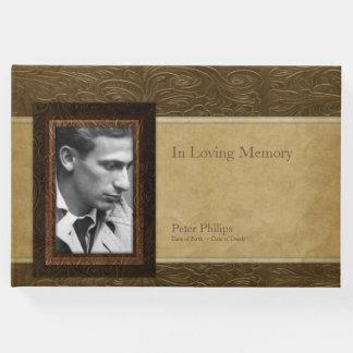 Livro de hóspedes de couro do memorial da foto do