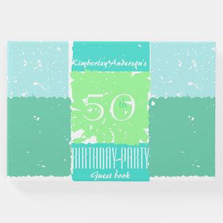Livro de hóspedes do aniversário das cores verdes