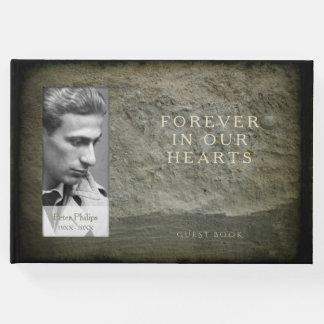 Livro de hóspedes do memorial do quadro da foto da