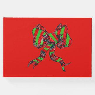 Livro de hóspedes do Natal - vermelho com arco