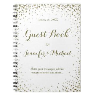 Livro de hóspedes dos confetes do ouro cadernos espiral