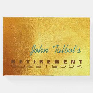Livro de hóspedes dourado da aposentadoria do