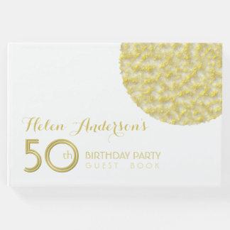 Livro de hóspedes dourado da festa de aniversário