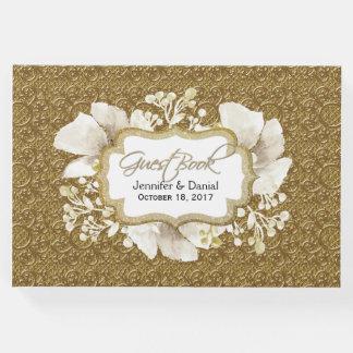 Livro de hóspedes elegante do casamento do ouro