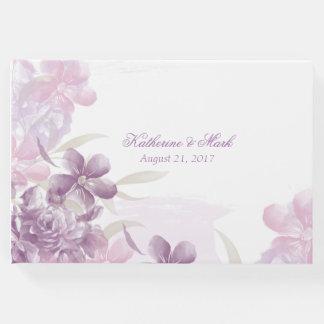 Livro de hóspedes floral do casamento da aguarela