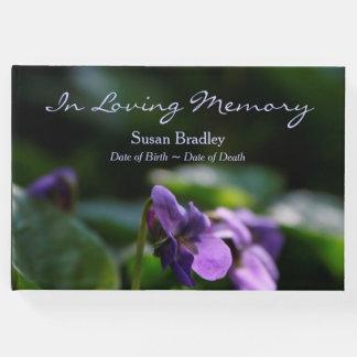 Livro de hóspedes floral do memorial da foto das