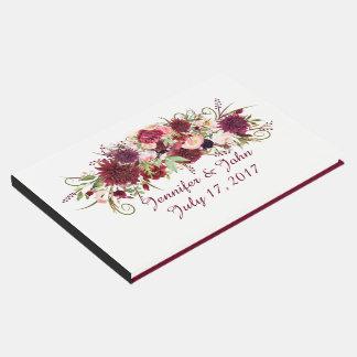 Livro de hóspedes floral vermelho do casamento de