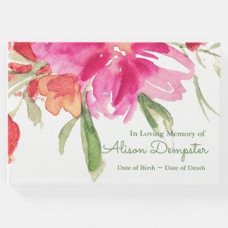 Livro de hóspedes fúnebre memorável floral da