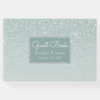Livro de hóspedes Glittery verde do casamento da