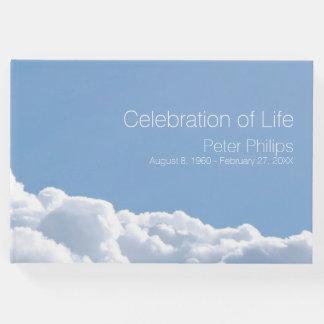 Livro de hóspedes memorável fúnebre do céu calmo