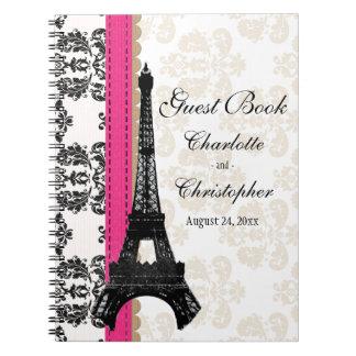 Livro de hóspedes parisiense do casamento da torre cadernos