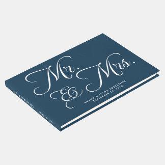 Livro de hóspedes, Sr. & Sra., marinho e branco do