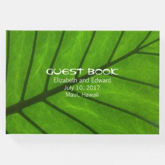Livro de hóspedes tropical do casamento da folha