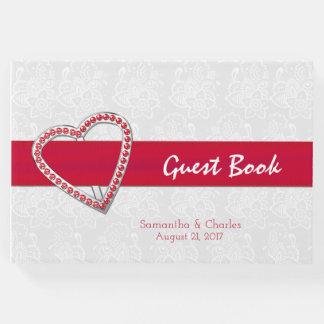 Livro de hóspedes vermelho do casamento do coração
