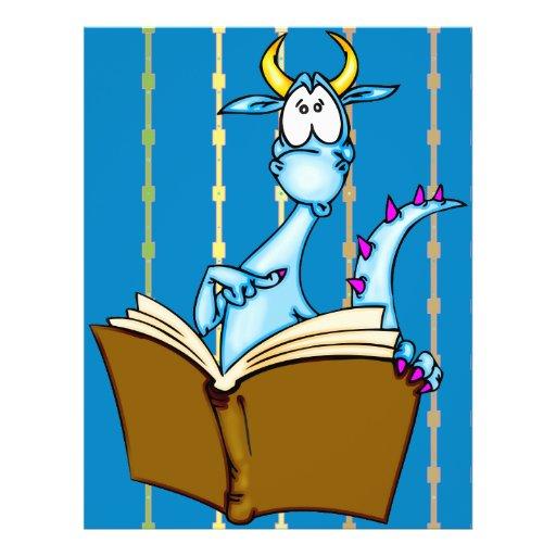 Livro de leitura do dragão modelos de panfleto