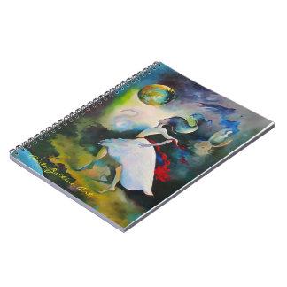 Livro de nota com cobrir surreal da arte cadernos espiral
