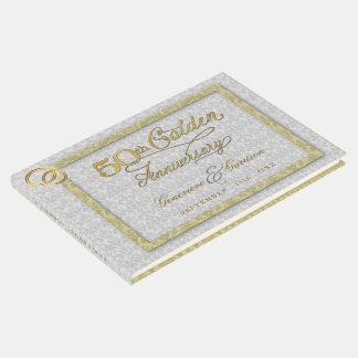 Livro De Visitas 50th Aniversário de casamento dourado com foto de