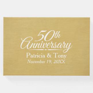 Livro De Visitas 50th Aniversário de casamento - fundo escovado do
