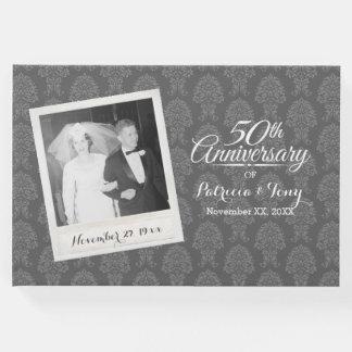 Livro De Visitas 50th Cor damasco da foto do aniversário de