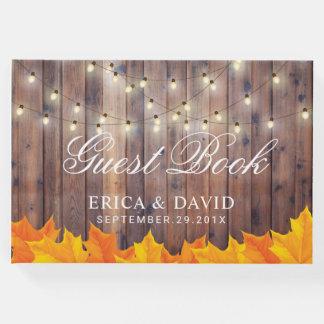 Livro De Visitas A corda das folhas de outono ilumina o casamento