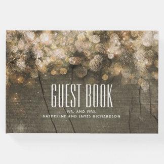 Livro De Visitas A corda do brilho do ouro ilumina o casamento