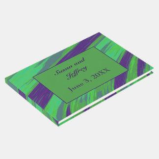 Livro De Visitas Abstrato azul verde da abanada da cor