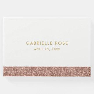 Livro De Visitas Aniversário cor-de-rosa do brilho do ouro/livro de