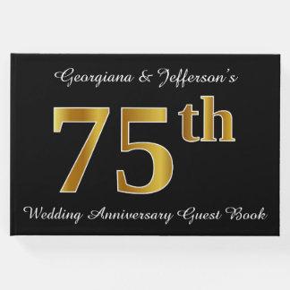 Livro De Visitas Aniversário de casamento do olhar 75th do ouro do